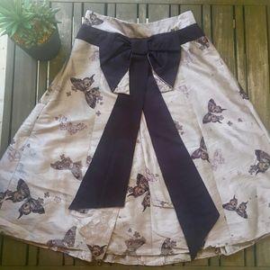 Karen Millen Mauve Silk Bow Back Cocktail Skirt